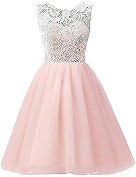 AGOGO Mädchen Kinder Kleider Festlich Brautjungfern Kleid Prinzessin Hochzeit Party Kleid Spitze Spleiß Chiffon...