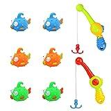 Nuheby Badespielzeug Angelspiel Junge Mädchen Spielzeug Angeln Spielzeug mit 6 Fische Angeln Wasserspiel für Kinder 3,4,5 Jahre Alt