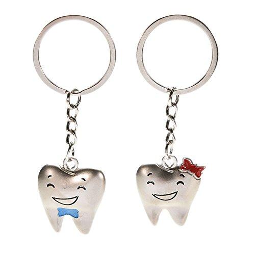 Dylandy 2x anello portachiavi ciondolo lover coppia denti a forma di portachiavi titolare portachiavi borsetta ornamentali per san valentino regalo di compleanno