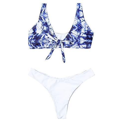 Manadlian Badeanzüge für Damen Drucken Sie mit Blumen Badeanzug Badebekleidung Zwei Stück Bikini Strandkleidung