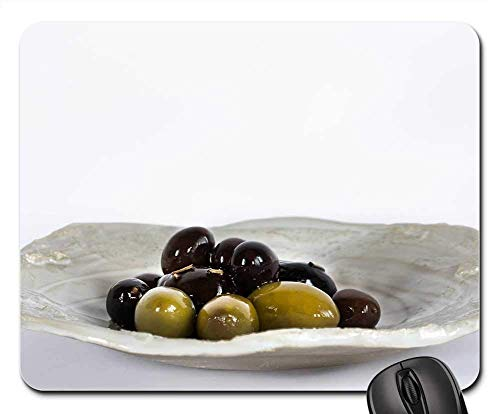 Rectangle Non-Slip Rubber Mouse Pad(9.45x7.8x0.12 Inches) Olives Plate Aperitif Eat Mediterranean Power
