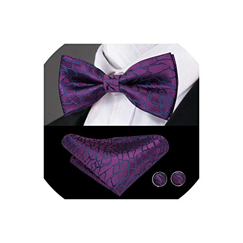 Men'S Bow Tie Blue Solid Silk Bowtie Cufflinks Set Male Wedding Bowties,Lh-779 Sky Blue Mens Tie