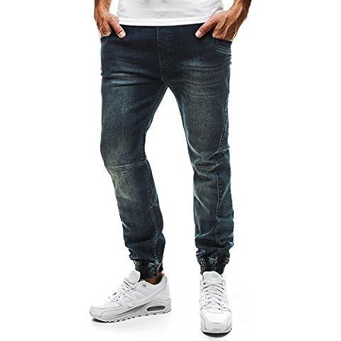 OZONEE Uomo Jogging Pantaloni Jeans Denim Vestiti Da Club Pantaloni Sport Jogging Fitness Jogger RED POLO 633-10 - Red Jogger