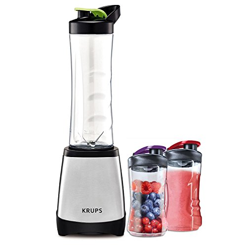 Krups Standmixer inkl. 2 x AEG Zusatz Flaschen Premium Vorteilspack | Krups KB203D Smoothie to Go Perfect Mix 2000, 0.6 L, 300 W | AEG ASBEB2 Mini Mixer Trinkflasche