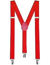 1 Tirantes Elásticos Ajustable Para Pantalones Y-diseño Clip hombre mujer niño rojo