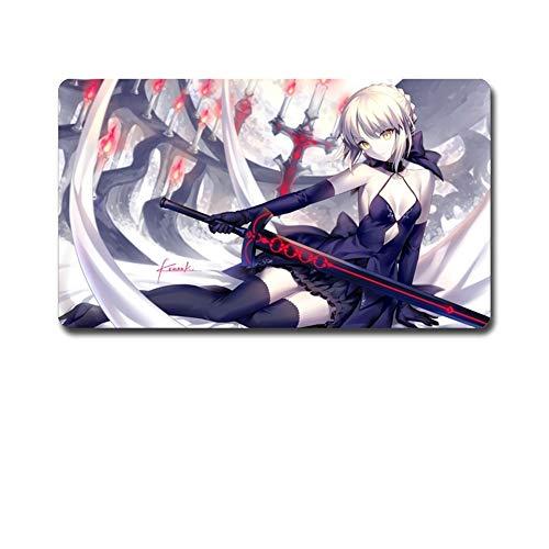 LNZIGK Anime Mauspad übergroßen Computerspiel Schreibtisch Pad zwei Yuan Zeichen umarmen Schwert schwarzes Kleid, 40 * 90 cm