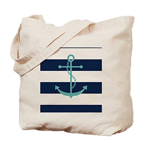 CafePress-Blaugrün Anker auf Marineblau Blau Streifen Tasche-Leinwand Natur Tasche, Reinigungstuch Einkaufstasche Tote S khaki