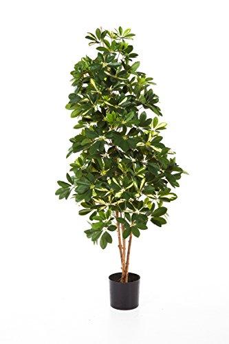 artplants Kunstpflanze Schefflera Premium, getopft, 1090 Blätter, grün – weiß, 140 cm – Künstliche Schefflera