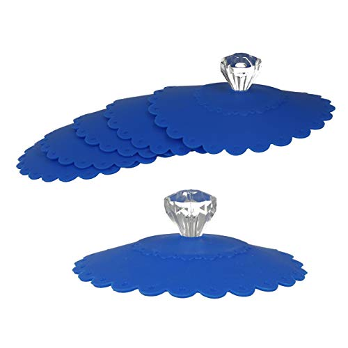 Glas Abdeckung (Lantelme Silikon Trinkglasabdeckung blau 8 St. Set Abdeckung Insektenschutz Glasabdeckung Glas Tasse 7649)