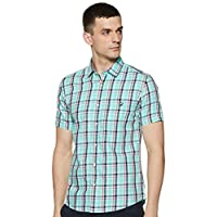 Amazon Brand - House & Shields Men's Checkered Regular fit Casual Shirt (SS20-HS-RR-HS-C_Green&Yellow M)