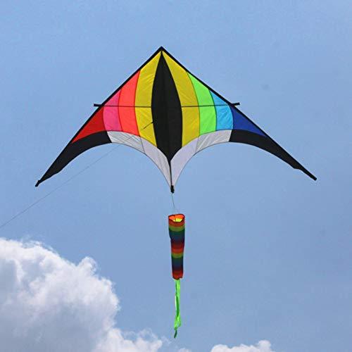 ZSYF Drachen Kite 2,8 M Regenbogen Drachen Rollen Set Griff Drachen Schwanz Dreieck Drachen Drachen Für Erwachsene Segel Wind Spinner Fisch