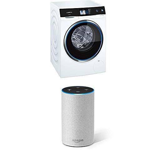 Siemens avantgarde WM14U940EU Waschmaschine / 10,00 kg / A+++ / 143 kWh / 1.400 U/ WLAN-fähig mit Home Connect + Amazon Echo (2. Gen.), Intelligenter Lautsprecher mit Alexa, Sandstein Stoff