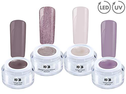 4 x 5ml - EN VOGUE Collection SPAR SET - COLOR EFFEKT GEL - UV LED Colour NagelGel NATURE - Gelnägel Farbgel - MADE IN GERMANY