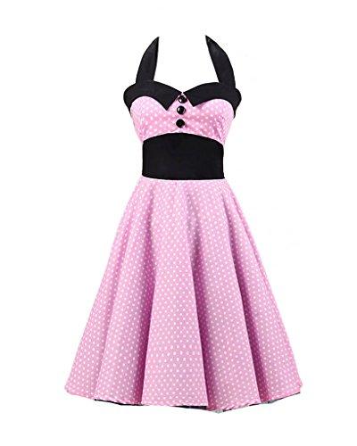 MISSMAO Retro Chic Tupfen Kleid 1950er Hepburn Stil Kleid ...
