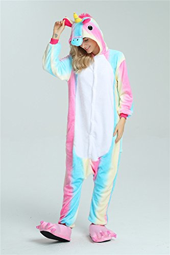 Colorfulworld Kigurumi Pigiama Cosplay Unicorn Pigiama Animale Party Halloween Sleepwear Costume Arcobaleno2