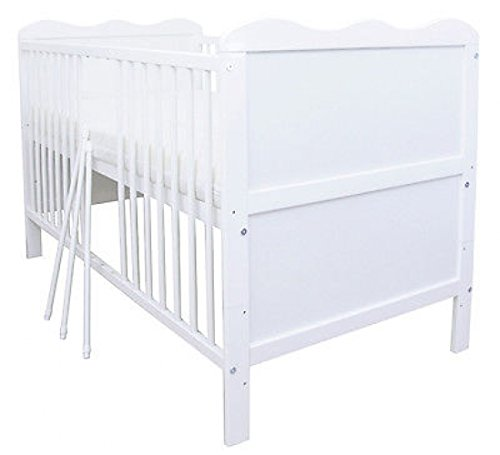 ZEARO Babybett Gitterbett Kinderbett umbaubar zum Juniorbett Weiß 140x70