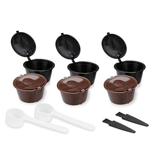 Capsule de Café Réutilisable, KOROSTRO 6 Pcs Filtre à capsule de café Rechargeables Compatible avec Nescafé Dolce Gusto, Mini Me, Piccolo, Genio, Esperta et Circolo