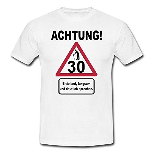 Spreadshirt 30. Geburtstag Verkehrsschild Achtung Langsam Sprechen Männer T-Shirt, XL, Weiß (Geburtstag Mann, T-shirt)