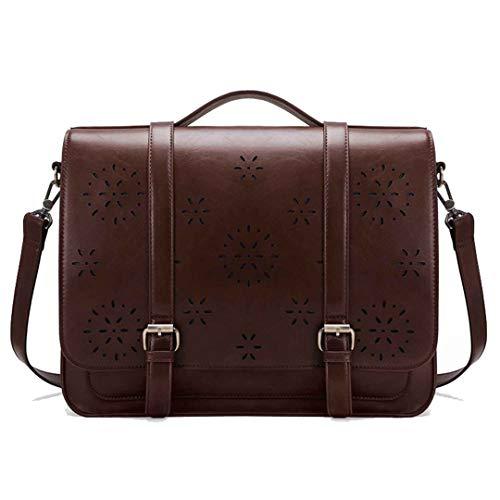 PU Leder Handtasche Messenger Bags Umhängetasche Laptop Schultasche Coffee (Qualität Gefärbt Bleistifte)