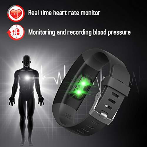 Imagen de hetp pulsera de actividad reloj inteligente mujer hombre pantalla a color con pulsómetro y presión arterial medidor relojes deportivos impermeable podómetro cuantas calorías para xiaomi samsung etc. alternativa
