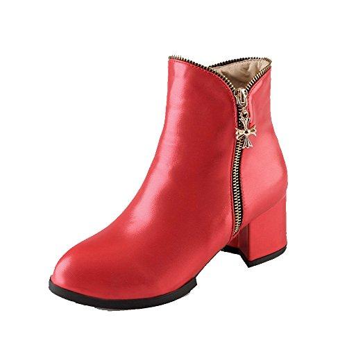 AllhqFashion Damen Rund Zehe Mittler Absatz PU Rein Ziehen auf Stiefel, Rot, 36