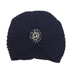SunWard(TM) Fashion Womens Winter Knit Braided Turban Headdress Cap (Navy)