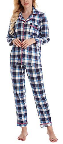 Blau Plaid L/s Shirt (NORA TWIPS Schlafanzug für Damen, Pyjama für Damen, Damen Schlafanzug Pyjama, Zweiteiliger Schlafanzug für Damen Langarm Pyjama mit Knopfleiste, Blau Plaid, L)