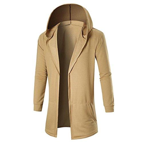 Preisvergleich Produktbild Herren Strickjacke Btruely Winter Männer Jacke Langarm Mit Kapuze Mantel Männer Hooded Sweatshirt Outwear (XL,  Khaki)