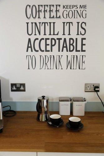 Küche Wand Abziehbilder Kaffee Wein Neuheit Spruch Lustiges Geschenk - Lila Glanz (Küche Makeover)
