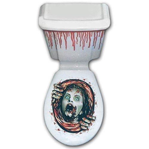 Halloween Terror Sangre TERROR Gritando Mujeres inodoro Topper Decoración