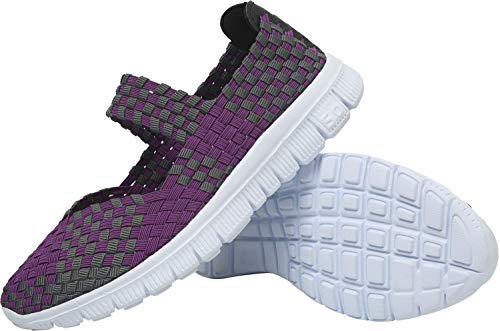 L-RUN Damen Sport Performance Schuhe Gym Mary Jane Trainer Komfortable Lila EU39 - Mary Purple Schuhe Jane