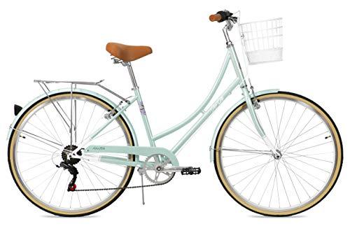 FabricBike Step City Damenfahrrad Amsterdam 28 Zoll Komfort Bike 7 Gang Hollandrad im Retro-Design (Mint Green + Korb)