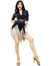 Deylaying Latino Vestido de Baile para Mujer - Borla Malla Manga 3/4 Bailando Disfraz Profesional Salón de Baile Samba Waltz Ropa de práctica