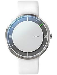 Botta Diseño de Nova + Alpin automático reloj de pulsera reloj–einzeiger, acero inoxidable, esfera blanca, banda de piel blanca
