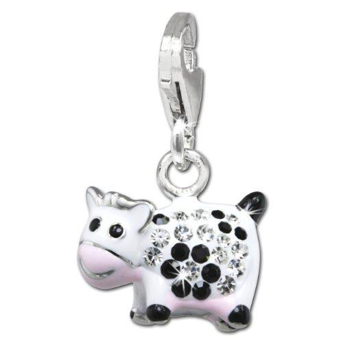 Charm Lustige Kuh weiß/schwarz Zirkonia Kristalle Anhänger 925 Silber für Bettelarmbänder Kette Ohrring GSC541W (Kuh Passt)