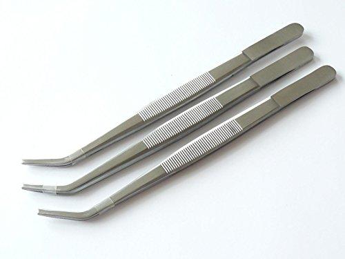 3x Pinzette, Futterpinzette, gebogen - Länge 20 cm - gerieftes Maulprofil - hochwertiger Edelstahl Dental Zahntechnik Tiere Küche
