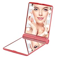 Edrus Portable Magnifying Makeup Mirror Touch screen 8 Dimmable Lighted Mirror Cosmetic Illumination Handbag Foldable Double Face Compact Mirror