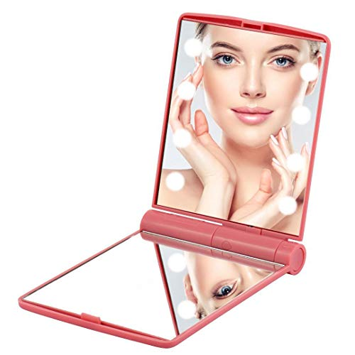 Edrus - Espejo de maquillaje portátil con lupa y pantalla táctil de 8 regulables con luz de espejo...