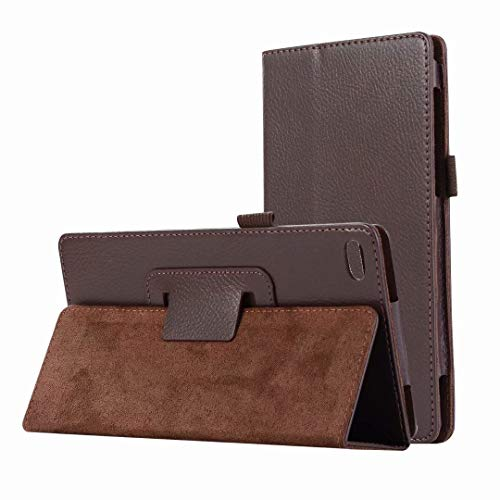 HereMore Lenovo Tab 7 Essential Hülle, Folio Case Kunstleder Schutzhülle Cover Tasche mit Ständerfunktion und Stylus-Halterung für Lenovo TB-7304X/TB-7304F/TB-7304I Tablet-PC, Braun -
