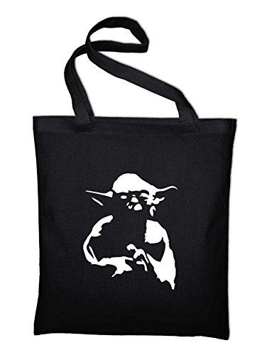 #1 Yoda Jutebeutel, Beutel, Stoffbeutel, Baumwolltasche, schwarz Schwarz