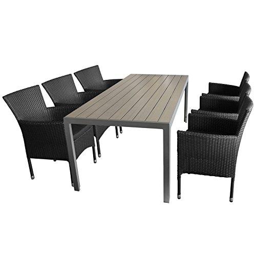 Ensemble de jardin 7 pièces table de jardin en aluminium et polywood plateau de table gris, 205x90x74cm + 6 x Fauteuil en rotin noir empilable avec coussin