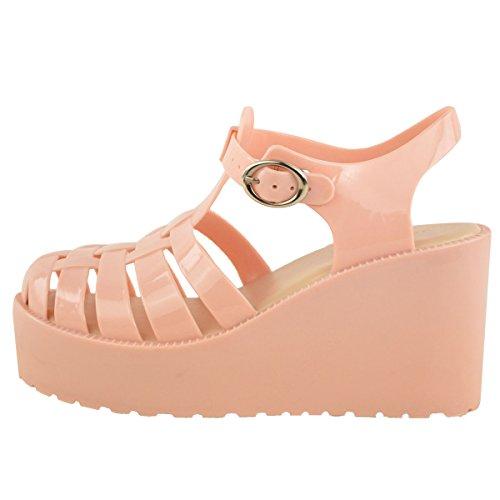 Donna estivo edelstahlkamin sandali tacco Plateau cuneo Pelle