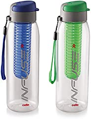 Cello Infuse Plastic Water Bottle Set, 800ml, Set of 2, Blue/Green