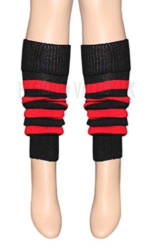 Unbekannt Fashion Valley Damen Mädchen Teenager 80er Jahre-Tanz einfarbig gerippt Beinstulpen Legwaemer Tutu Kostüm, Rot und Schwarz gestreift (Teenager Mädchen Tutu Kostüm)