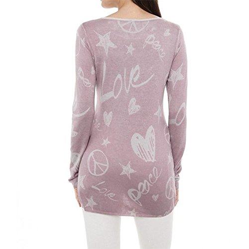 Sexyville Femme Fille Manches Longues Amour Impression Chaude Forage Pull Casual Chemise Sauvage Chemise Imprimée à Manches Longues Pour Femmes Chemisier Décontracté T-Shirt Rose