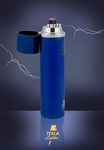 Gebaut Grill (Tesla-Lighter T02 Lichtbogen Feuerzeug USB Feuerzeug Arc Lighter elektronisches Feuerzeug wiederaufladbar für Zigarre, Pfeife, Chillum uvm. Blau in edler Geschenkbox)
