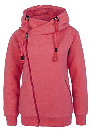 Sublevel Sweatjacke mit Zipper & Kapuze | Cooler Damen Hoodie - schräger Reißverschluss, Uni-farben middle-red XS