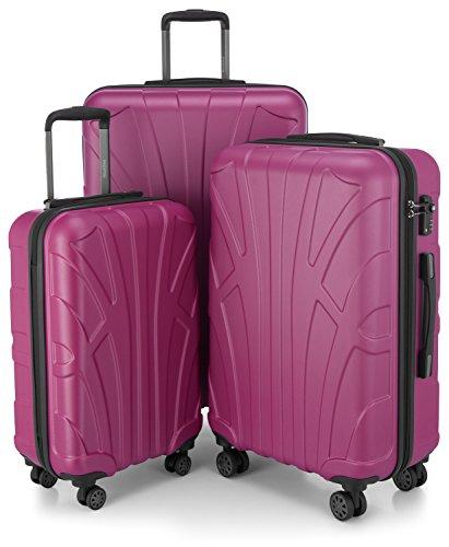 SUITLINE - 3er Koffer-Set Trolley-Set Rollkoffer Hartschalen-Koffer Reisekoffer, TSA, (S, M & L), Magenta