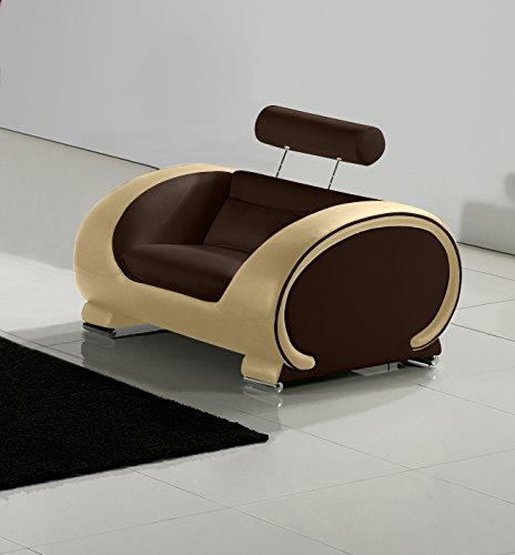 SAM® Design Wohnzimmer Lounge Sessel Vigo braun / creme 108 cm Sitzfläche braun Armlehnen creme
