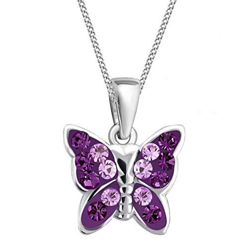 Lila Kristall Schmetterling Anhänger mit Halskette 925 Echt Silber Mädchen Baby Kinder SET (38) (Schmetterling Halskette Für Mädchen)
